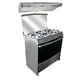 Cocina a Gas Gentile 5 quemadores +  Campana Extractora CK901IX  90 cm