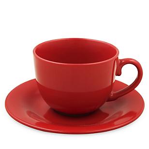 Taza con Plato Cerámica Rojo