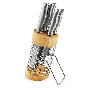 Set Cuchillos Metal con Taco Madera 5 Piezas
