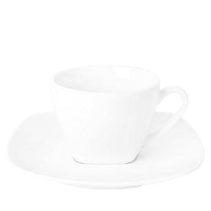 Taza y Plato de Café Cuadrado Blanco