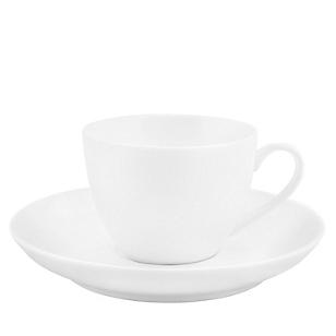 Taza y Plato de Café Redondo Blanco