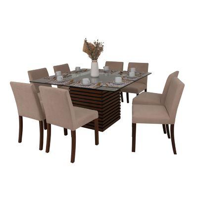 Comedores modernos de 8 sillas de vidrio for Comedores falabella chile