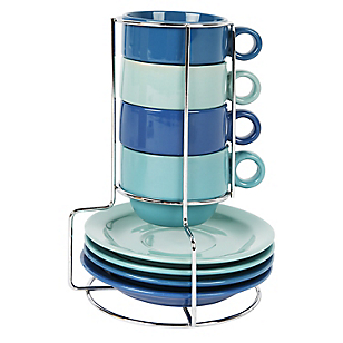 Set x4 Tazas de Café 114 ml con Rack