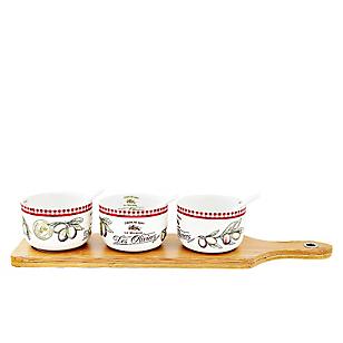 Set x3 Mini Bowl + Tabla Bambú