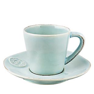 Taza y Plato de Café Celeste