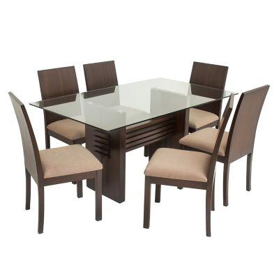 Juego de comedor mica coral mesa con 6 sillas for Comedores falabella osorno