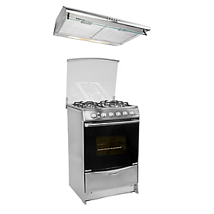 Cocina Lucida Inox 4 Quemadores + Campana Extractora CK601IX 60 cm