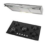 Cocina Empotrable Glassy Plus Negra 5 Quemadores + Campana Extractora CK902IX 90 cm