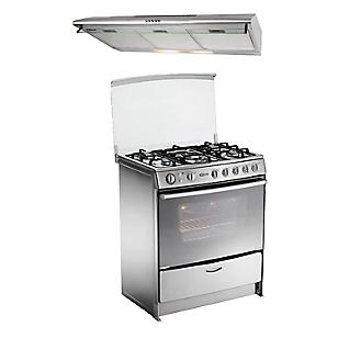 Cocina Gentile Inox 5 Quemadores + Campana Extractora CK902IX 90 cm