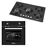 Cocina Empotrable Glassy Plus Negra 5 Quemadores + Horno Eléctrico Black Oven 65 lt