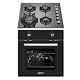 Cocina Empotrable Notte Negra 4 Quemadores + Horno Eléctrico Black Oven 65 lt