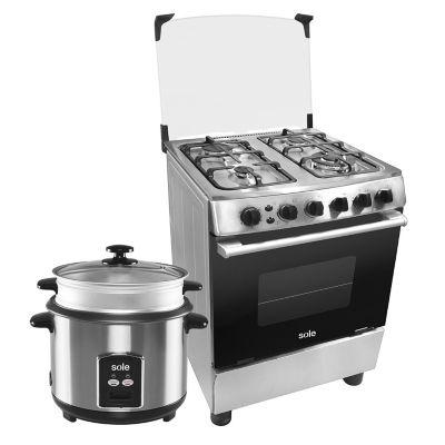Sole Cocina a Gas Punta Sal Inox 4 Quemadores + Olla Arrocera 1,8 lt