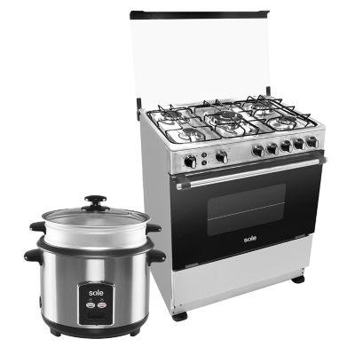 Sole Cocina a Gas Prestige Inox 5 Quemadores + Olla Arrocera 1,8 lt