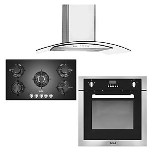 Combo Cocina SOLCO033 + Campana TURE66CO + Horno a Gas SOLHO007