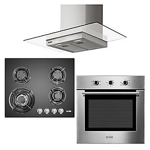 Combo Cocina SOLCO034 + Horno Eléctrico SOLHO008 + Campana TURE80CO