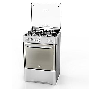 Electrolux Cocina 4 Hornillas de Acero con Tapa Desmontable Inox