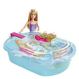 Barbie Piscina Nado con Perritos