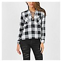 Blusa Lace Up Cuadros