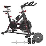 Combo Bicicleta de Spinning Beat 30 + Barra de Acero + Disco de 5Kg + Guantes de Ejercicio