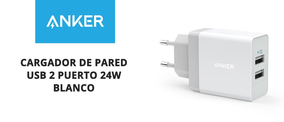 Cargador de pared USB 2 Puerto 24W Blanco