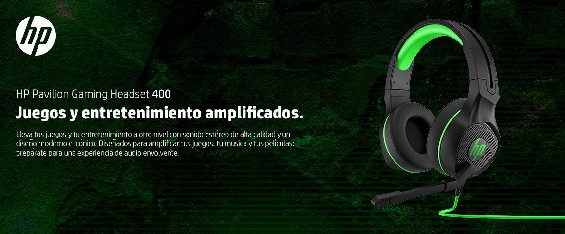 HP Pavilion Gaming Headset 400, Lleva tus juegos y tu entretenimiento a otro nivel con sonido este¿reo de alta calidad y un disen¿o moderno e ico¿nico.