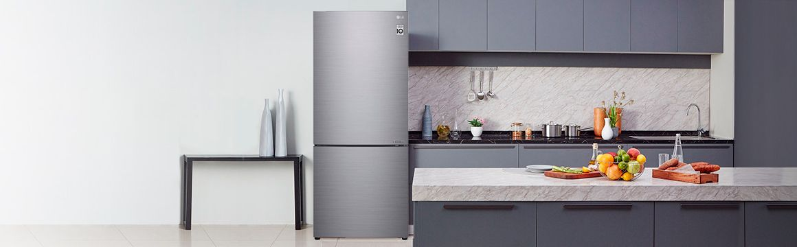 Refrigeradora Bottom Freezer en la cocina