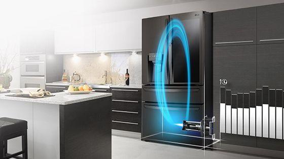 Refrigeradora con el motor Inverter Linear encendido y barras de energía