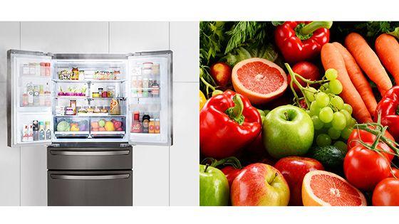 Refrigeradora abierta con Linear Cooling y verduras frescas