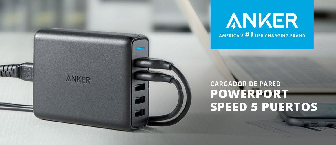 Cargador usb powerport speed 5 puertos, 2 puertos QC