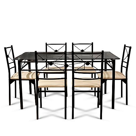 Juego de comedor mica isidora 6 sillas for Precios de comedores en vidrio