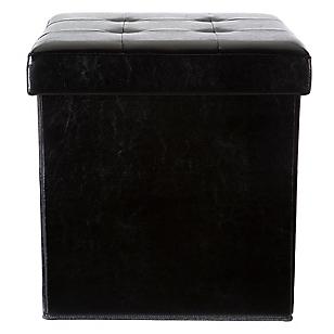 Puff Caja PU Negro 38 cm