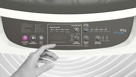 Lavadora Whirlpool de 18 Kg carga superior Blanca, con panel de control intuitivo y digital que muestra el tiempo de lavado y las opciones seleccionadas además de la etapa del ciclo. WWI18BBBLA - 881969078