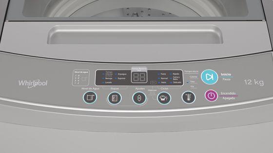 Lavadora Whirlpool de 12 Kg carga superior Gris, con panel de control digital de fácil uso. El tiempo de lavado y las opciones seleccionadas pueden ser vistas en el panel. WWI12ASGLA - 881969079