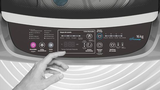 Lavadora Whirlpool de 16 Kg carga superior Gris, con panel de control intuitivo y digital que muestra el tiempo de lavado y las opciones seleccionadas además de la etapa del ciclo. WWI16BSBLA - 881969082