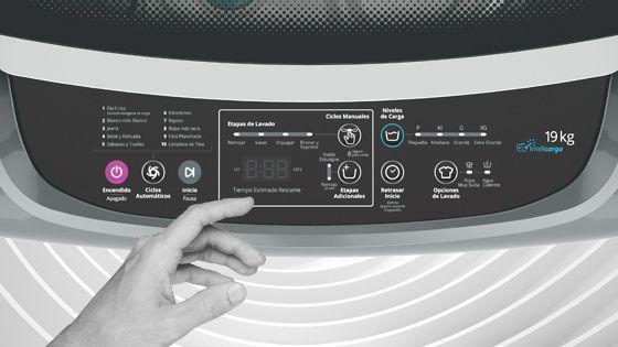 Lavadora Whirlpool de 19 Kg carga superior Gris, con panel de control intuitivo y digital que muestra el tiempo de lavado y las opciones seleccionadas además de la etapa del ciclo. WWI19BSBLA - 881969084