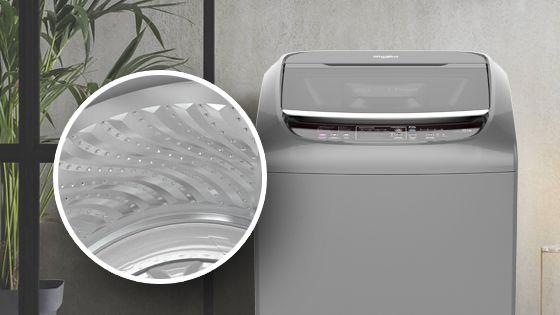 Lavadora Whirlpool de 16 Kg carga superior Gris con detalle del interior de la tina construída en acero inoxidable y con labrado especial para proteger y lavar mejor. WWI16BSBLA - 881969082
