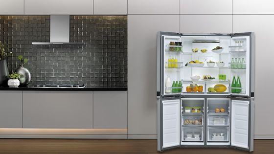 Refrigeradora Whirlpool French Door Bottom Mount Diseño exterior Quattro 4D con 4 puertas, dos de refrigerador (parte superior) y dos de congelador (parte inferior). WQ9B1L - 881969085