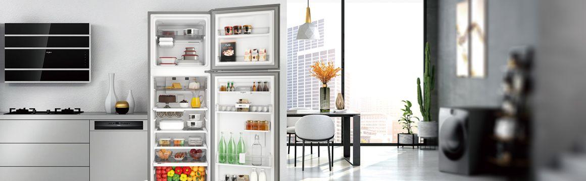 Refrigeradora Whirlpool Top Mount 400 LitrosAbierta, ambientada y provisionada con alimentos.Aspecto Premium Ultra-Moderno. WRM45AKBPE - 881976435