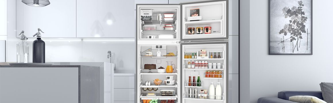 Refrigeradora Whirlpool Top Mount 500 Litros. Abierta, ambientada y provisionada con alimentos. Aspecto Premium Ultra-Moderno. WRM57AKBPE -  881976437