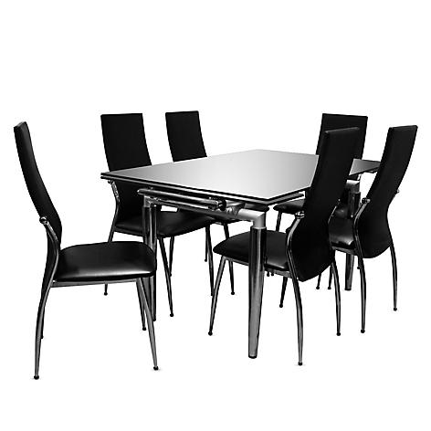 Juego de comedor mica linear negro expandible 6 sillas for Comedor 8 sillas falabella