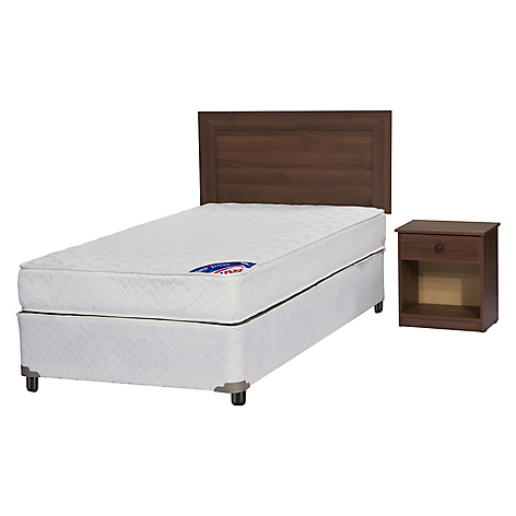 Cama Americana New Entree 1,5 Plazas Base Normal + Muebles Asturias
