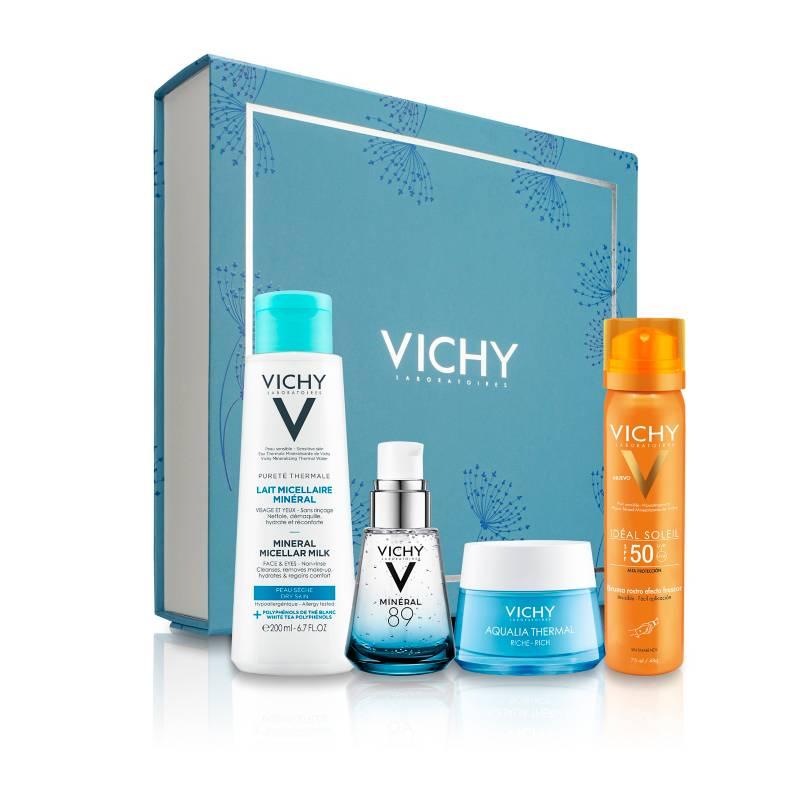 VICHY - Set Rutina Hidratación Mineral 89 30 ml + Aqualia Light 50 ml + Agua Micelar + Ideal Soleil