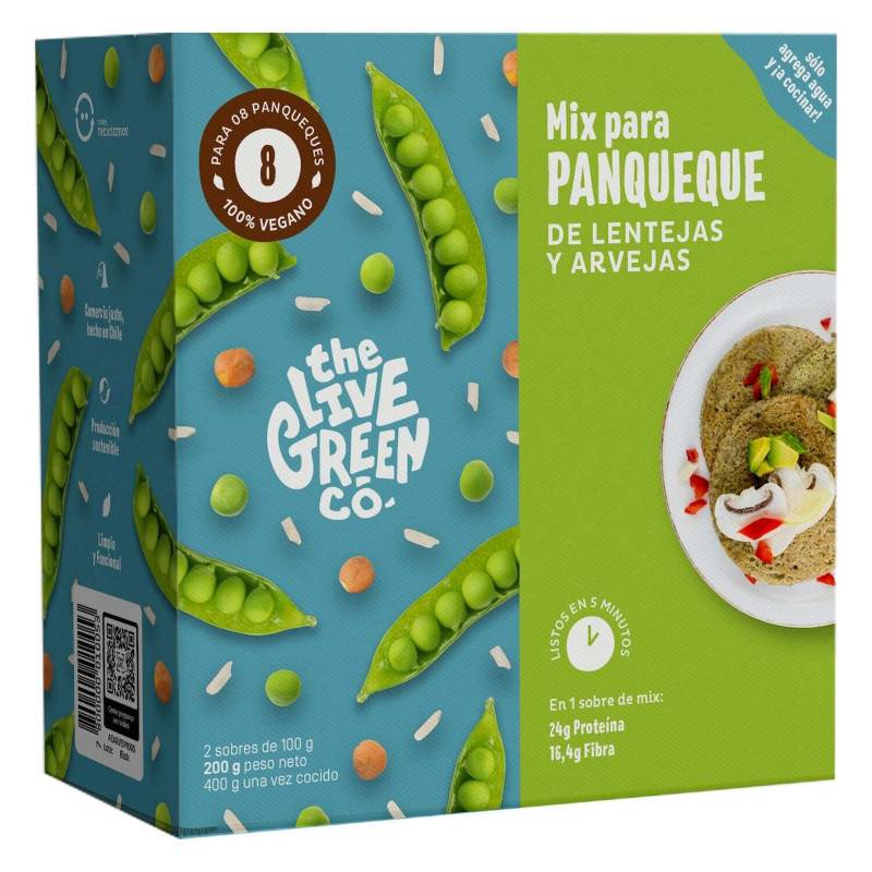 THE LIVE GREEN CO - 2 Pack | Green Pancake Mix - Lentejas y Arvejas
