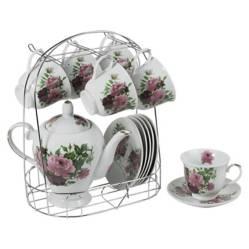 Sohogar - Juego 6 Tazas de Té con Platillo Tetera y Atril