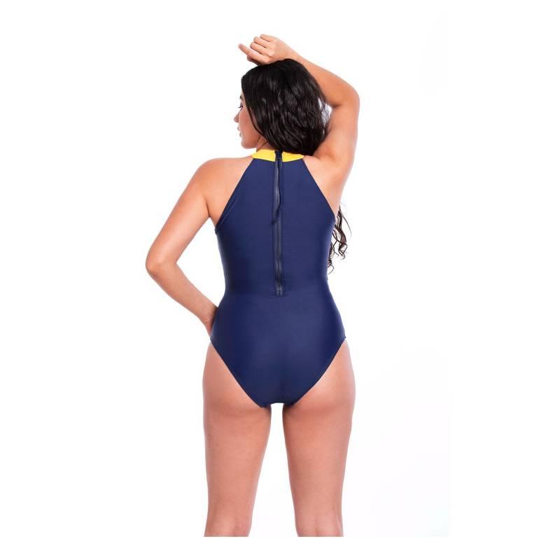 SAMIA - Traje de Baño Deportivo con Cierre Azul