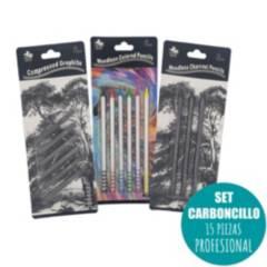 OEM - Kit Dibujo Carboncillo 15 Piezas