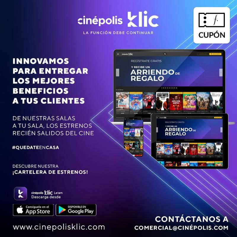 CINEPOLIS KLIC - Cupón para Cine en tu casa Arriendo de 1 pelicula en estreno y de catalogo