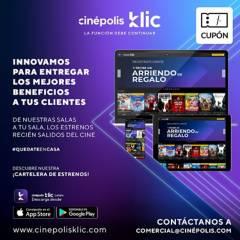 CINEPOLIS KLIC - Cupón para Cine en tu casa Arriendo de 3 peliculas en estreno y de catalogo