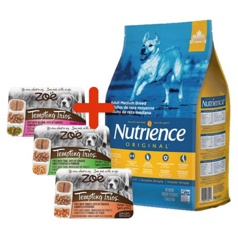 NUTRIENCE - Pack Promo Nutrience Original Dog Adulto 11Kg + 3 ZOE