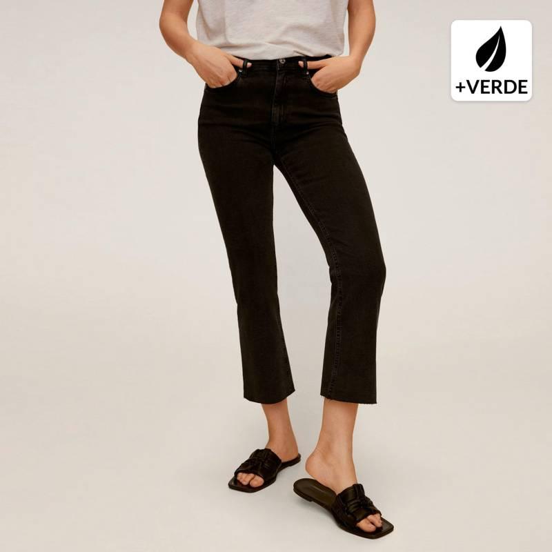 Mango - Jeans Flare Crop Tiro Alto Mujer
